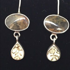 Sterling silver earrings w/ brown stone